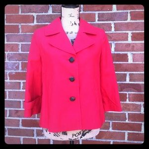NWOT Talbots Red Lined Button Up Peacoat Jacket